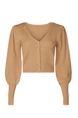 Brown Puff Sleeve Cardigan by Love, Whit by Whitney Port