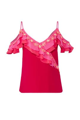 Mixed Pink Cold Shoulder Top by Peter Pilotto
