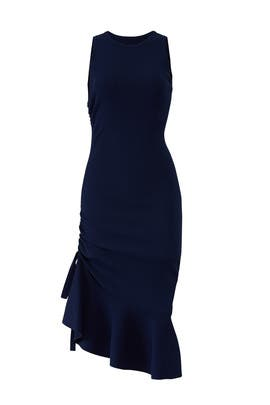 Navy Shirred Side Dress by Milly
