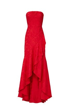 Red Strapless Gown by ML Monique Lhuillier