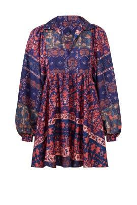 Printed Peasant Dress by RAGA