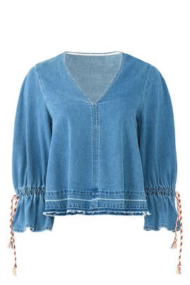 Denim Tie Sleeve Top by See by Chloe