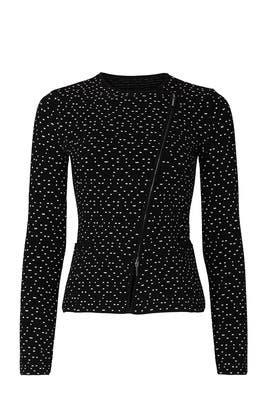 Dot Printed Asymmetrical Zip Jacket by Emporio Armani
