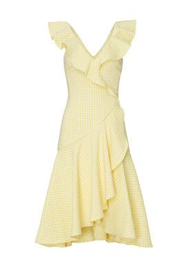 Gingham Ruffle V-Neck Dress by Jonathan Simkhai