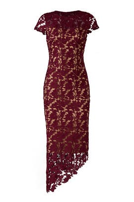 Burgundy Lace Dress by LM Collection