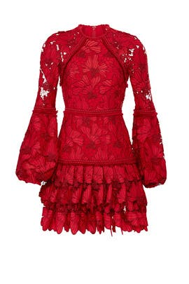 Red Lace Fransisca Dress by Alexis
