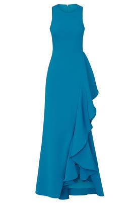 Bright Aqua Ruffle Gown by Badgley Mischka
