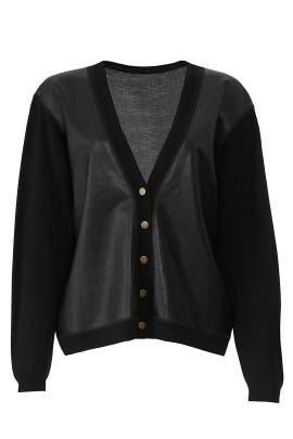Houston Faux Leather Cardigan by Cynthia Rowley