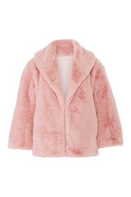 Millenial Pink Faux Fur Coat by Josie Natori