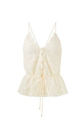 Cream Nadalyn Lace Top by Rachel Zoe