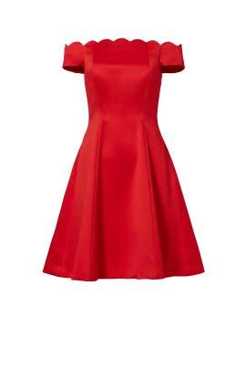 Red Scallop Off Shoulder Dress by Badgley Mischka