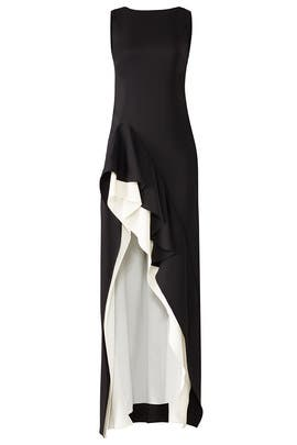 Black Flounce Gown by HALSTON