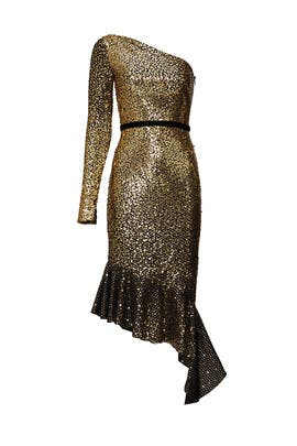 Gold Sequin Cocktail Dress by Marchesa Notte