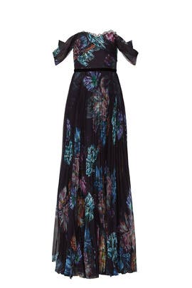 Black Floral Printed Gown by Marchesa Notte