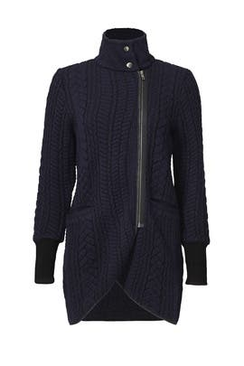 Navy Ribbed Cardigan  by Matison Stone