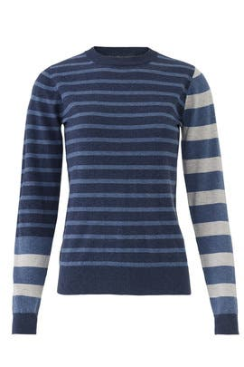 Blue Striped Crew Neck Pullover by Derek Lam 10 Crosby
