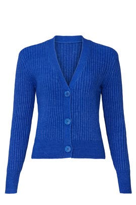 Blue Ribbed Cardigan by Halogen