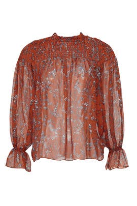 Sheer Orange Smocked Blouse by Slate & Willow