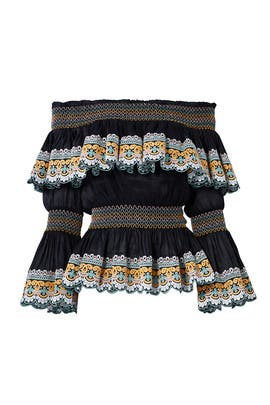Black Scallop Embroidered Top by AMUR