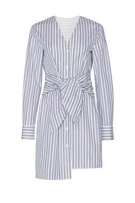 Liam Stripe V-Neck Shirtdress by Tibi