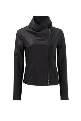 531224844 VINCE. Black Feather Leather Scuba Jacket