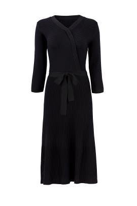 Black Rib Knit Wrap Dress by kate spade new york