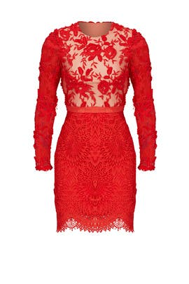 Red Lace Floral Sheath by ML Monique Lhuillier
