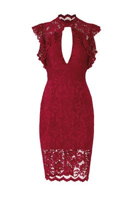 Red Lace Keyhole Dress by Saylor
