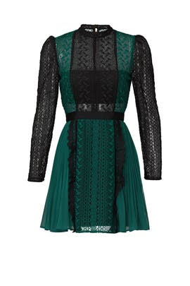 Green Lace Mini Dress by Self-portrait