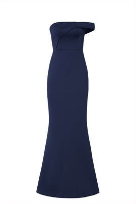Navy Molten Off Shoulder Gown by Black Halo