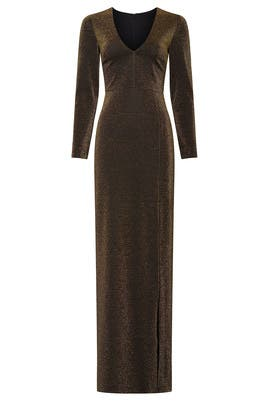 Metallic Knit Gown by Badgley Mischka