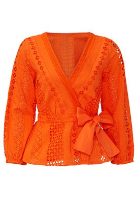 Orange Eyelet Wrap Top by J.Crew