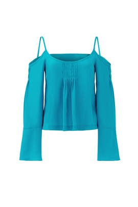 Teal Tulip Sleeve Top by Nanette Lepore