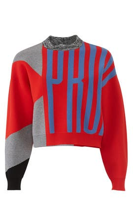 Cropped Logo Jacquard Sweater by Proenza Schouler White Label