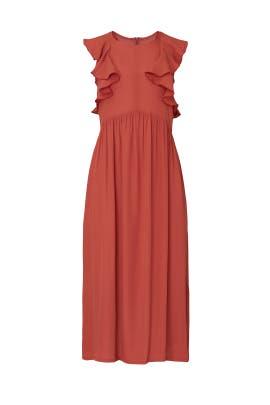 Cranberry Flutter Sleeve Dress by sita murt