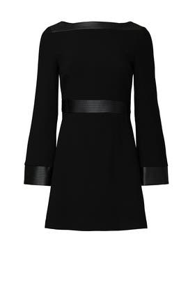 Faux Leather Trim Dress by Toccin