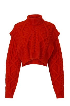 Bonnie Cable Knit Turtleneck Sweater by AKNVAS