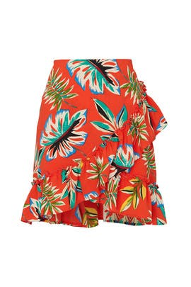 Tropical Faux Wrap Ruffle Hem Skirt  by Moon River