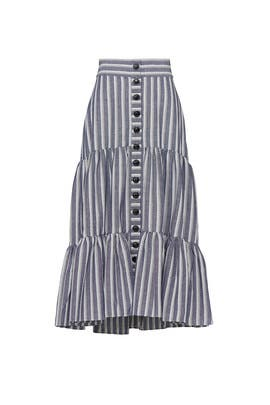 Blue Stripe Midi Skirt by Marissa Webb Collective