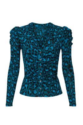 Blue Leopard Gladys Top by Diane von Furstenberg