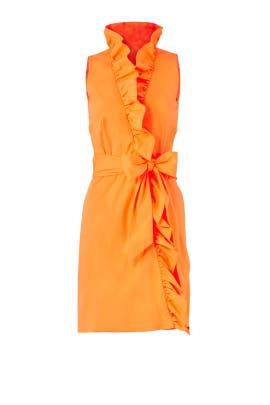 Orange Ruffle Tie Dress by Milly