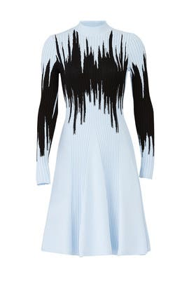 Blue Intarsia Knit Dress by Opening Ceremony