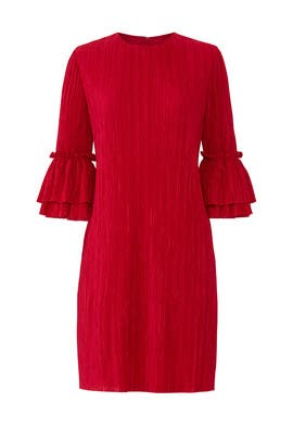 Red Pleated Shift by Badgley Mischka