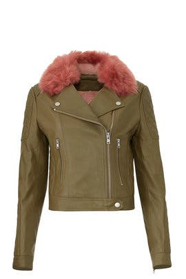 Faux Fur Biker Leather Jacket by Samantha Sipos