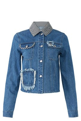 Girls Gingham Denim Jacket by Samantha Sipos
