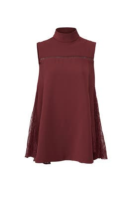 Burgundy Lace Godet Top by ADEAM
