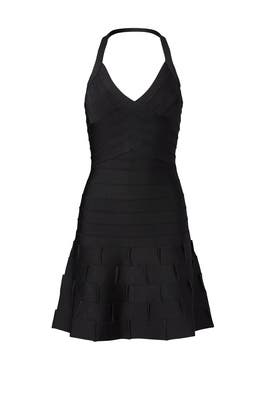 Black Weaved Skirt Dress by Hervé Léger