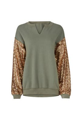 Army Sequin Sleeve Sweatshirt by JET John Eshaya
