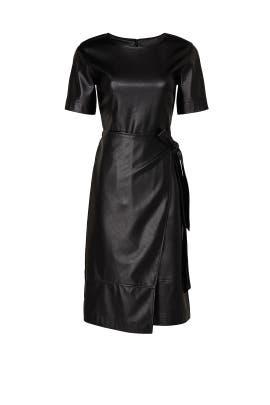 Black Faux Leather Wrap Dress by Natori