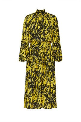 Yellow Zebra Print Midi Dress by No. 21